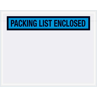 "Panel Face Envelopes - ""Packing List Enclosed"" 5-1/2 x 7"" Blue, 1000/Case"