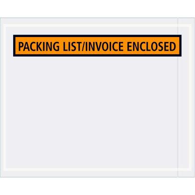 "Panel Face Envelopes - ""Packing List/Invoice Enclosed"" 4-1/2 x 5-1/2"" Orange - 1000/Case"