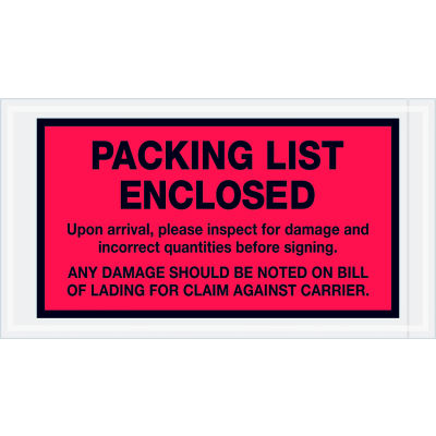 """Full Face Envelopes - """"Packing List Enclosed"""" 5-1/2 x 10"""" Red - 1000/Case"""