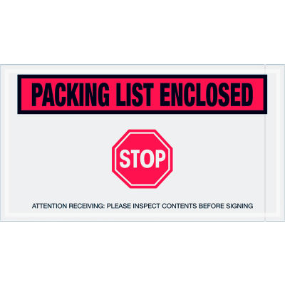 """Panel Face Envelopes - """"Packing List Enclosed"""" 5-1/2 x 10"""" Red - 1000/Case"""