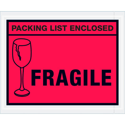 """Full Face Envelopes, """"Packing List Enclosed-Fragile"""" Print, 5-1/2""""L x 4-1/2""""W, Red, 1000/Pack"""
