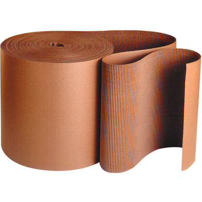 "Singleface Corrugated Roll, A Flute, 4"" x 250', Kraft, 1 Roll"
