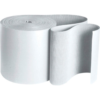 "Singleface Corrugated Roll, B Flute, 36"" x 250', White, 1 Roll"