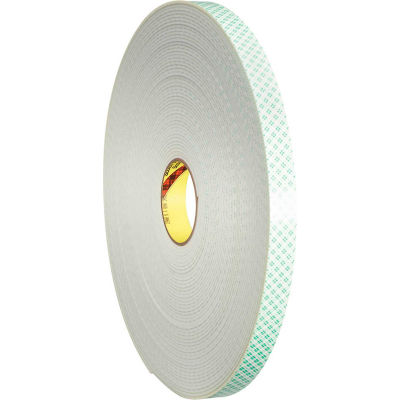 """3M™ 4008 Double Sided Foam Tape 1/2"""" x 36 Yds. 1/8"""" Thick White"""