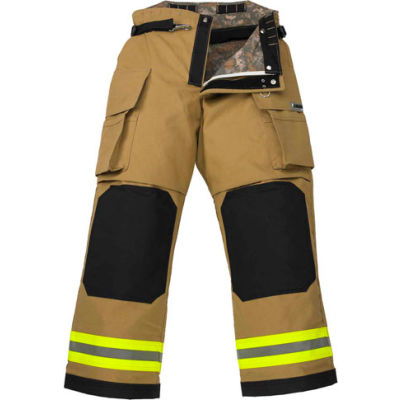 """Lakeland BP3307G OSX B2™ Battalion Fire Protective Pleated Turnout Gear Pants 44""""-30"""", Gold"""