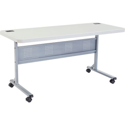 """Interion® 72"""" x 24"""" Blow Molded Foldable Training Table - Gray"""