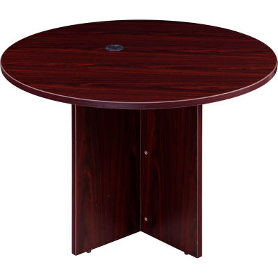 "Interion® 42"" Round Conference Table - Mahogany"
