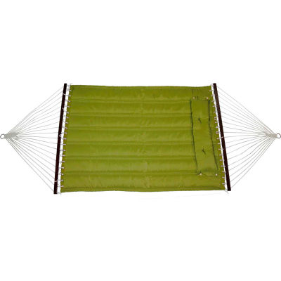 Bliss Quilted Poly Outdoor Hammock with Pillow, Sage
