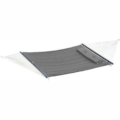Bliss Quilted Poly Outdoor Hammock with Pillow, Dark Gray