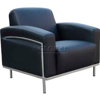 Reception Lounge Chair with Arms -Vinyl - Black