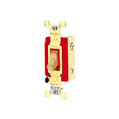 Bryant 4901BI Industrial Grade Toggle Switch, Single Pole, 20A, 120/277V AC, Ivory