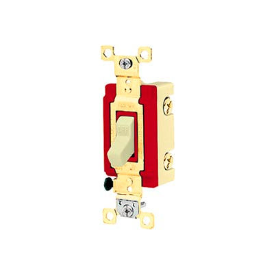 Bryant 4902I Industrial Grade Toggle Switch, Double Pole, 20A, 120/277V AC, Ivory
