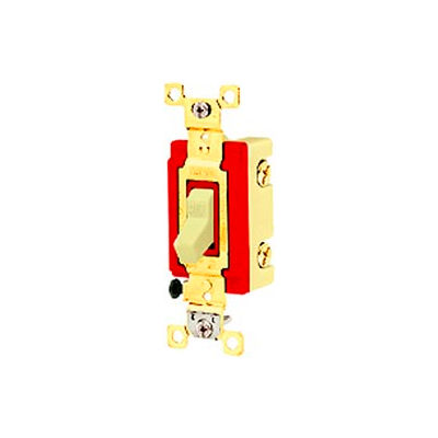 Bryant 4903PLC120 Industrial Grade Toggle Switch, Three Way, 20A, 120V AC, Pilot Clear