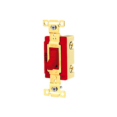 Bryant 4903PLR120 Industrial Grade Toggle Switch, Three Way, 20A, 120V AC, Pilot Red