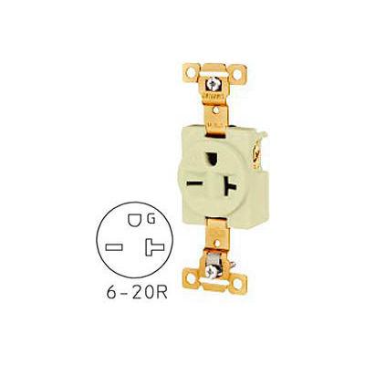 Bryant 5461I TECHSPEC® Industrial Grade Single Receptacle, 20A, 250V, Ivory