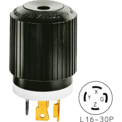 Bryant 71630NP TECHSPEC® Plug, L16-30, 30A, 3ph 480V AC, Black/White