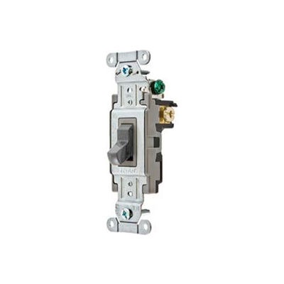 Bryant CS120BGRY Commercial Grade Toggle Switch, Single Pole, 20A, 120/277V AC, Gray