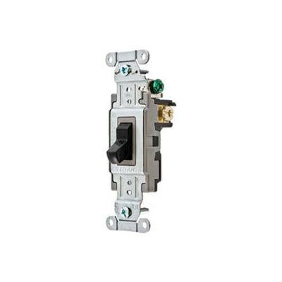 Bryant CS120BLK Commercial Grade Toggle Switch, Single Pole, 20A, 120/277V AC, Black