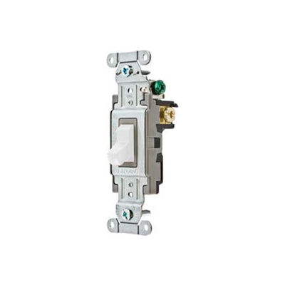 Bryant CS120BW Commercial Grade Toggle Switch, Single Pole, 20A, 120/277V AC, White