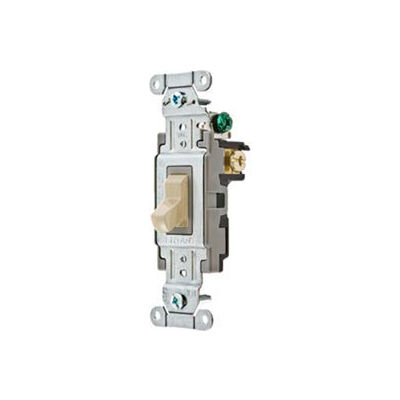 Bryant CSB320BI Commercial Grade Toggle Switch, Three Way, 20A, 120/277V AC, Ivory