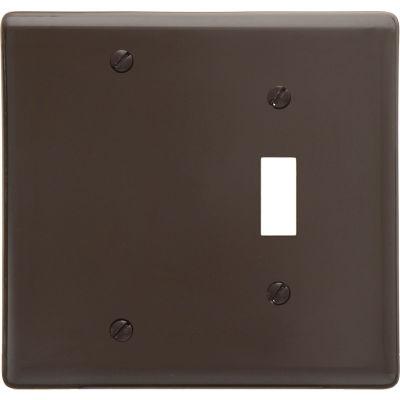 Bryant NP113 Toggle Blank Combo Plate, 2-Gang, Standard, Brown Nylon