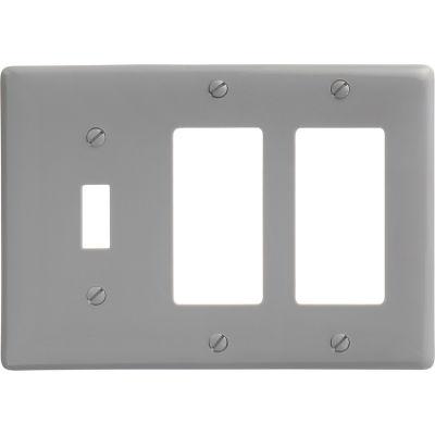 Bryant NP1262GY Toggle Styleline Combo Plate, 3-Gang, Standard, Gray Nylon, 1 Toggle