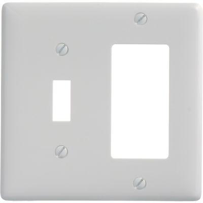 Bryant NP126W Toggle Styleline Combo Plate, 2-Gang, Standard, White Nylon