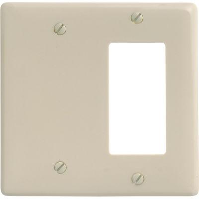 Bryant NP1326I Blank Styleline Combo Plate, 2-Gang, Standard, Ivory Nylon
