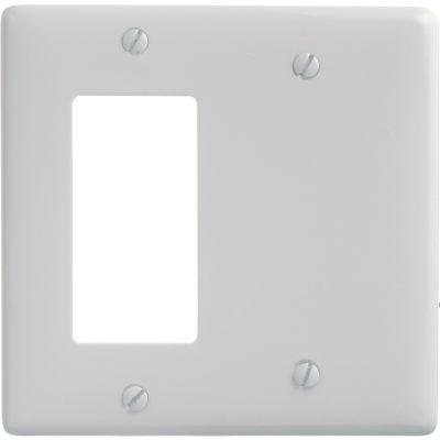 Bryant NP1326W Blank Styleline Combo Plate, 2-Gang, Standard, White Nylon