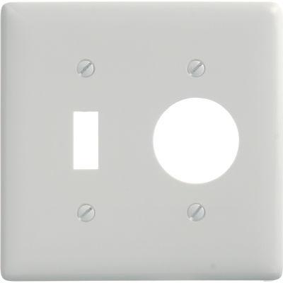 Bryant NP17W Toggle Single Combo Plate, 2-Gang, Standard, White Nylon