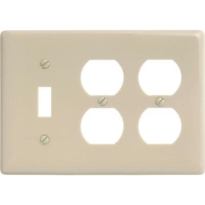 Bryant NP182I Toggle Duplex Combo Plate, 3-Gang, Standard, Ivory Nylon
