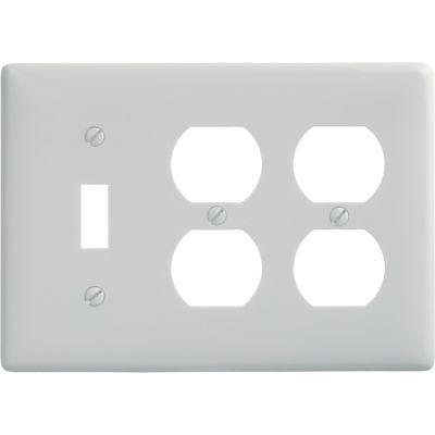 Bryant NP182W Toggle Duplex Combo Plate, 3-Gang, Standard, White Nylon
