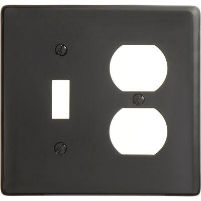 Bryant NP18BK Toggle Duplex Combo Plate, 2-Gang, Standard, Black Nylon