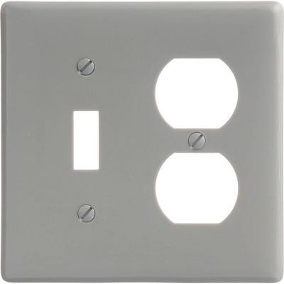 Bryant NP18GY Toggle Duplex Combo Plate, 2-Gang, Standard, Gray Nylon