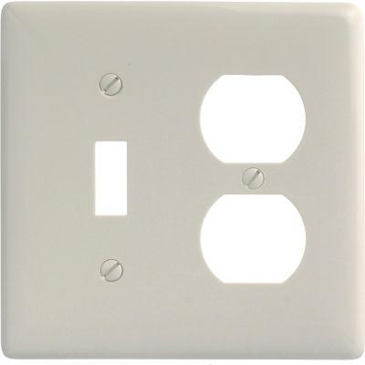 Bryant NP18LA Toggle Duplex Combo Plate, 2-Gang, Standard, Light Almond Nylon