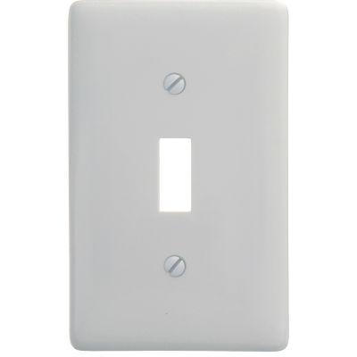 Bryant Np1w Toggle Plate, 1-Gang, Standard, White Nylon - Pkg Qty 25