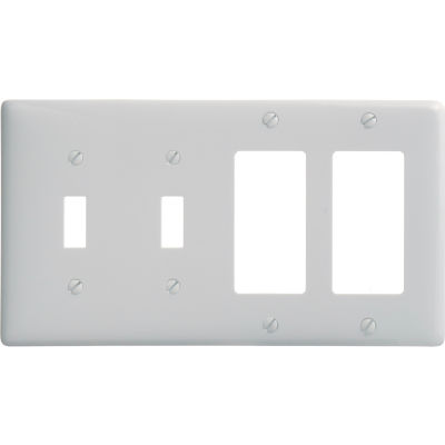 Bryant NP2262W Toggle Styleline Combo Plate, 4-Gang, Standard, White Nylon, 2 Toggle