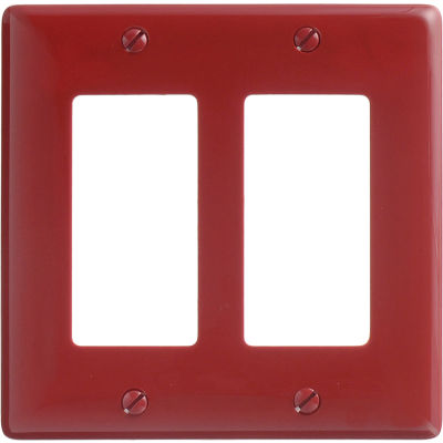 Bryant NP262R Styleline Rectangular Plate, 2-Gang, Standard, Red Nylon