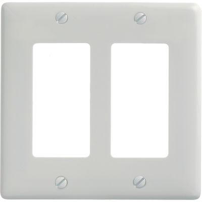 Bryant NP262W Styleline Rectangular Plate, 2-Gang, Standard, White Nylon