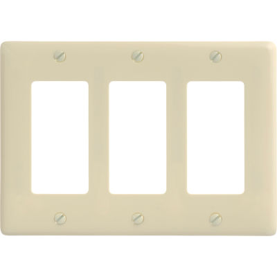 Bryant NP263AL Styleline Rectangular Plate, 3-Gang, Standard, Almond Nylon