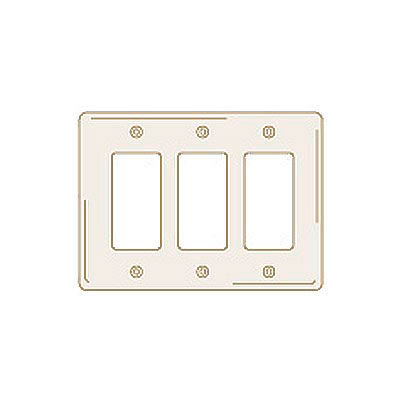 Bryant NP263LA Styleline Rectangular Plate, 3-Gang, Standard, Light Almond Nylon