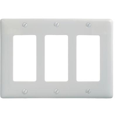 Bryant NP263W Styleline Rectangular Plate, 3-Gang, Standard, White Nylon
