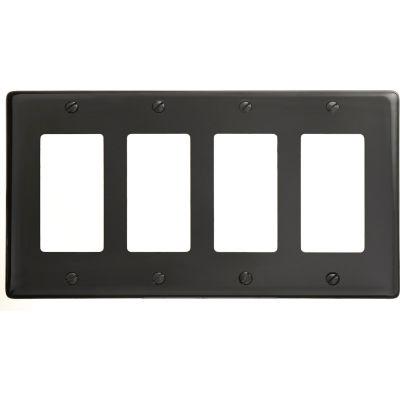 Bryant NP264BK Styleline Rectangular Plate, 4-Gang, Standard, Black Nylon
