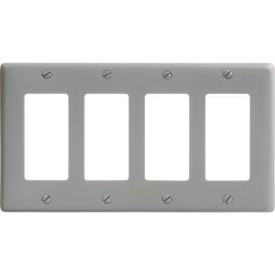 Bryant NP264GY Styleline Rectangular Plate, 4-Gang, Standard, Gray Nylon