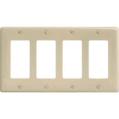Bryant NP264I Styleline Rectangular Plate, 4-Gang, Standard, Ivory Nylon