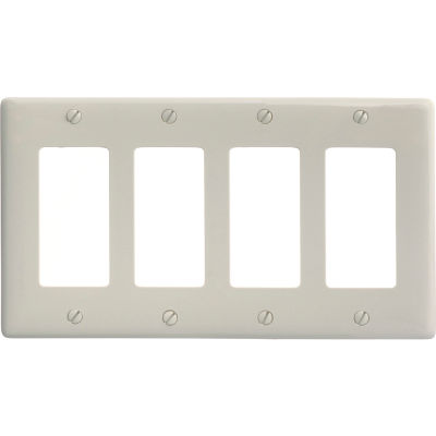 Bryant NP264LA Styleline Rectangular Plate, 4-Gang, Standard, Light Almond Nylon