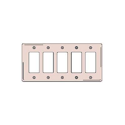 Bryant NP265I Styleline Rectangular Plate, 5-Gang, Standard, Ivory Nylon
