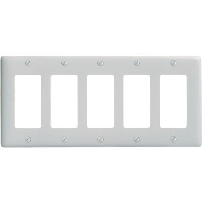 Bryant NP265W Styleline Rectangular Plate, 5-Gang, Standard, White Nylon