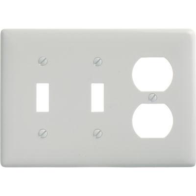 Bryant NP28W Toggle Duplex Combo Plate, 3-Gang, Standard, White Nylon, 2 Toggle