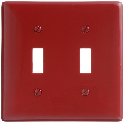 Bryant NP2R Toggle Plate, 2-Gang, Standard, Red Nylon